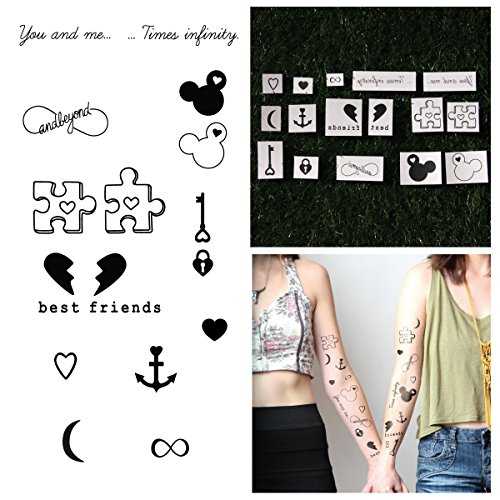 Tattify Best Friends Temporary Tattoos - BFFE (Complete Set of 18 Tattoos) - Individual Styles Available - Fashionable Temporary Tattoos (Best Friend Puzzle Piece Tattoo)