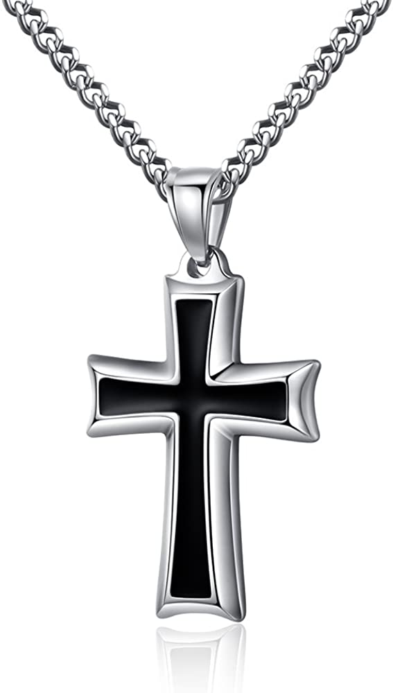 Reve Stainless Steel Black & Silver Cross Pendant Necklace for Men Women, 20-24 Inches Curb Chain