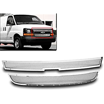 ZMAUTOPARTS Chevy EXpress Van Upper Stainless Steel Mesh Grille Insert Chrome 2Pcs Set
