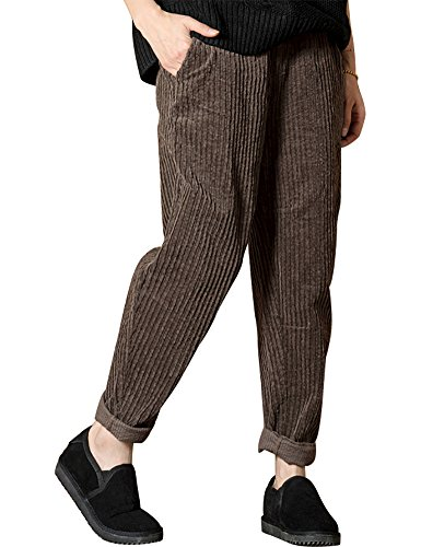 IDEALSANXUN Women's Elastic Waist Vintage Corduroy Loose Harem Pants With Pocket (Brown, Medium)