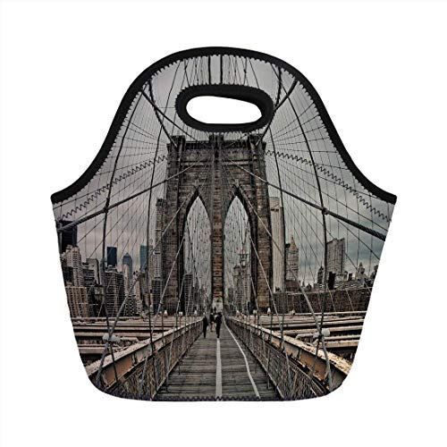 Beige Cables Thermal - Portable Neoprene Lunch Bag, United States, View Of Historical Famous Brooklyn Bridge and Cable Pattern NYC Architecture, Beige Brown, for Kids Adult Thermal Insulated Tote Bags