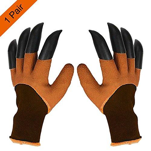 Garden Genie Gloves with Claws on EACH Hand Waterproof Digging Gloves for Gardening (Genie Letter)