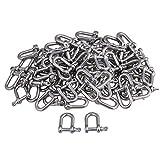 Mxfans 50PCS European Style Metal Rust Resistantance M4 D shackle Rigging Silver