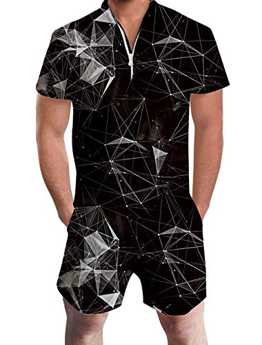 Men Rompers 3D Funny Black Geometry Graphic Printed Bro Male Jumpsuit One Piece Outfits Zipper Cargo Overalls Large