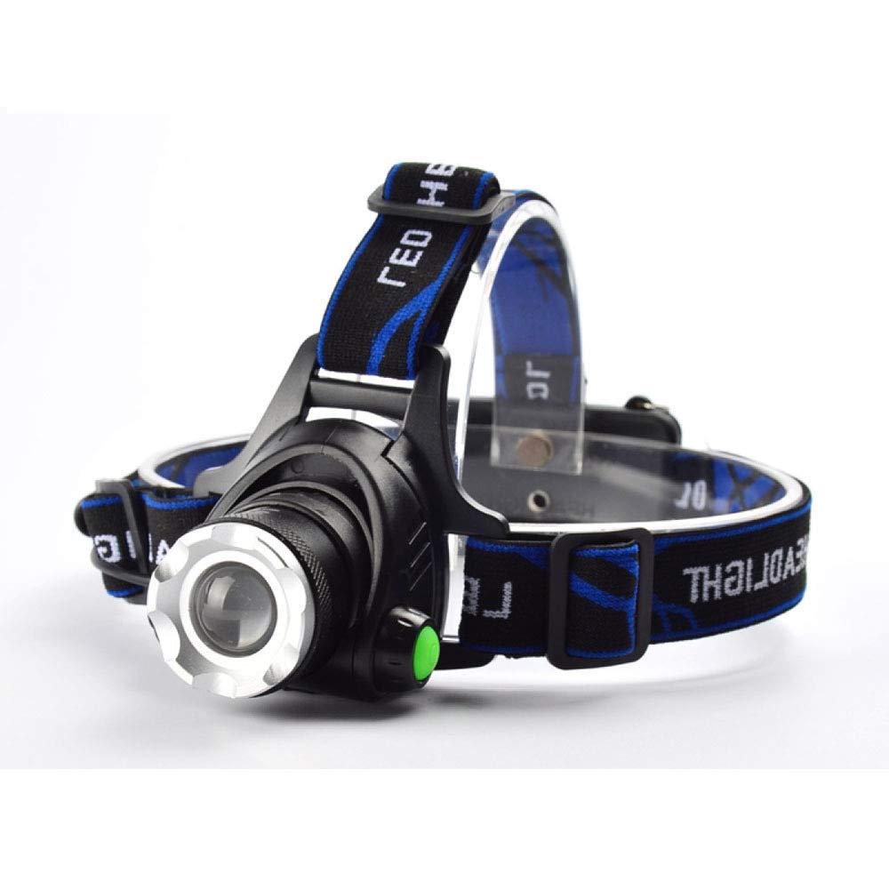 Liul Scheinwerfer Scheinwerfer Blendung Zoom T6 Long Shot Outdoor Trekking Berg Lade-Licht,Blau