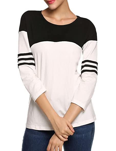 db0ff2ca5a Women's Striped Raglan Blouse Tops 3/4 Sleeve Baseball T Shirt(S, Black