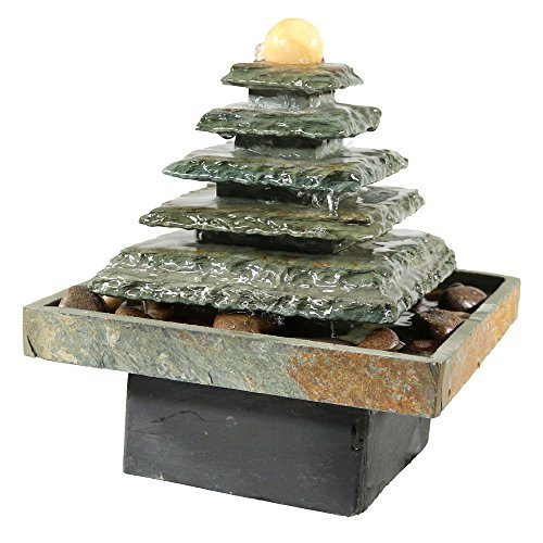 Sunnydaze Slate Pyramid Tabletop Water Fountain, 9 Inch Tall