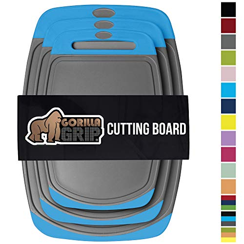 GORILLA GRIP Original Oversized Cutting Board, 3 Piece, BPA Free, Juice Grooves, Larger Thicker Boards, Easy Grip Handle, Dishwasher Safe, Non Porous, Extra Large, Kitchen, Set of 3, Gray Aqua