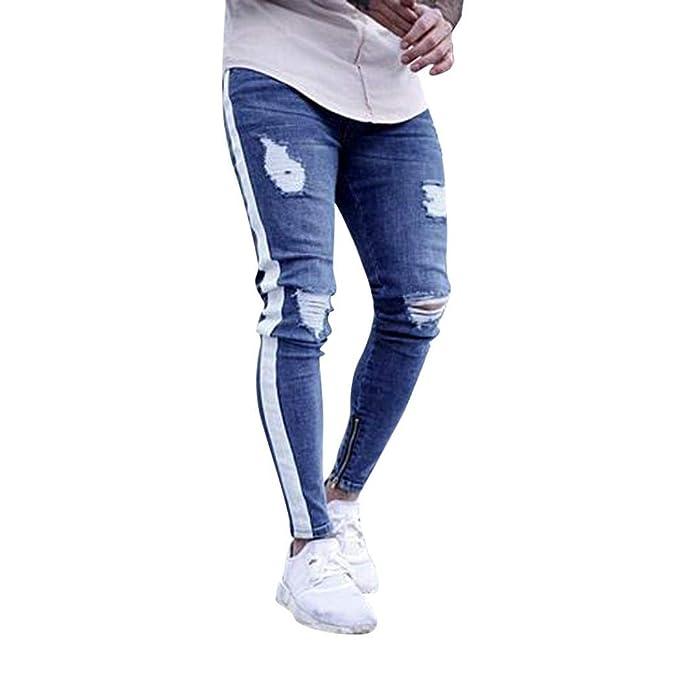 LiucheHD-Pantaloni In Denim Elasticizzato con Strappi Pantaloni Strappati  Sfilacciati in Denim con Zip Aderenti Slim Fit Jeans Trousers  Amazon.it   ... aa6c5bd2647