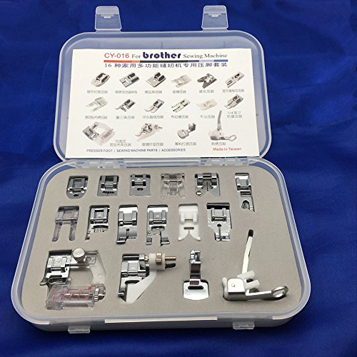 YEQIN Professional Domestic Sewing Machine CY-016 Set Snap-on Presser Feet set for Low Shank Brother, Singer, Viking, Janome, Simplicity, Kenmore