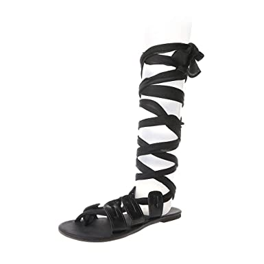 e58d91f5cfe DENER❤ Women Ladies Gladiator Sandals Knee High