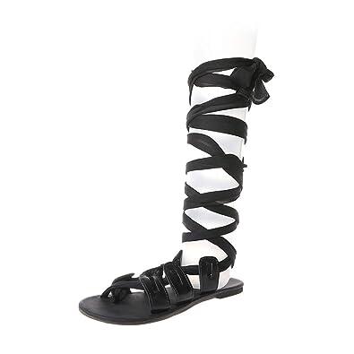 99337ef44 SCHOLIEBEN Women Sandals Thong Bandage Bohemian Beach Shoes Summer Knee  High Flat Shoes Black