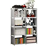 Rerii Cube Organizer Shelf, 8-Cube Storage Closet Organizer, Cabinet Bookcase, Bookshelf, Free Standing