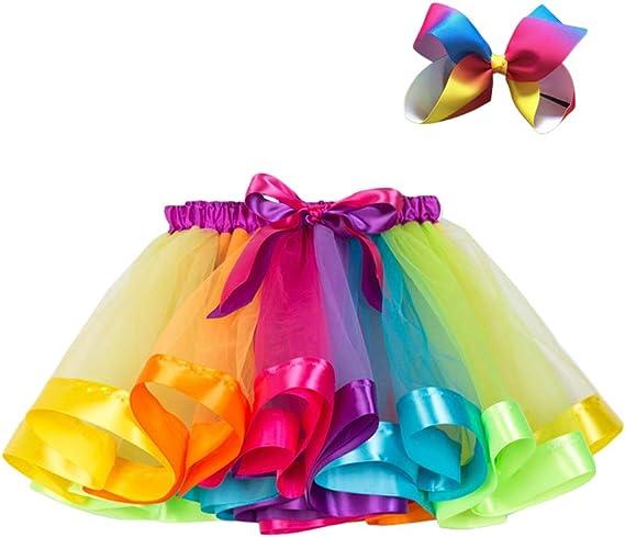 Yijinstyle Falda Tutu para Niñas Disfraz de Tutú Arcoiris ...