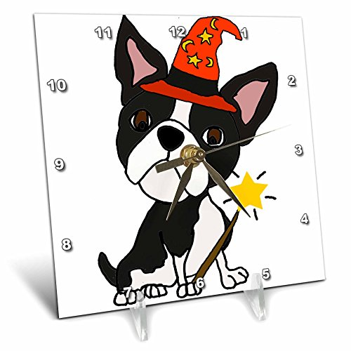 Cute Halloween Desktop Pics (3dRose All Smiles Art Pets - Cute Funny Boston Terrier Dog Wizard Halloween Cartoon - 6x6 Desk Clock (dc_263742_1))