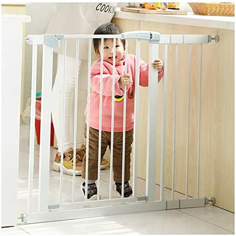ZEMIN Baby Safety Gates Adjustable Stair Through Walk for Children Toddlers Kids Pets Security Fence Door, Gray (Color : H 80 W, Size : 215~222cm)