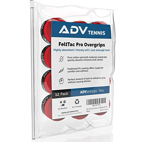 ADV Tennis Dry Overgrip - Remarkably Absorbent - Must Feel Velvety Comfort - Exclusive FeltTac Material (12 Pack, Red)