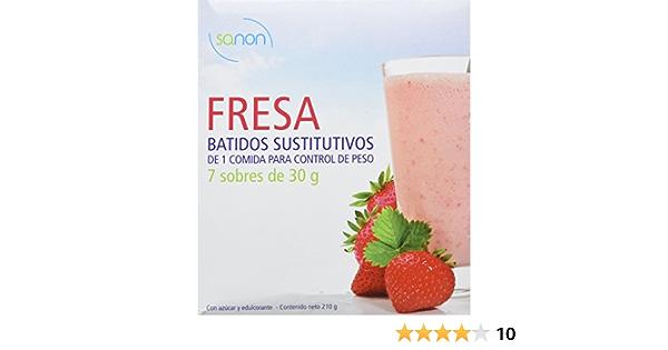 Sanon Batidos, Sustitutivo Alimentacio con Sabor de Fresa, 7 Sobres, 30 g