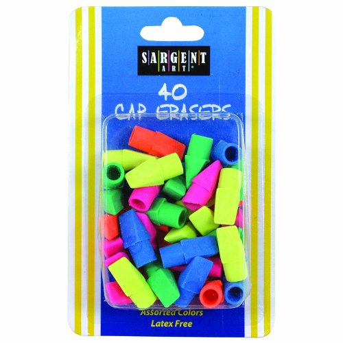 SARGENT ART INC. 40CT ASSORTED COLOR CAP ERASER (Set of 36)