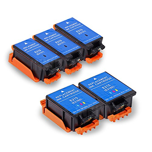 INKUTEN Replacement 215 T215 T215120 T215530 Ink Cartridge (3 Black, 2 Color) - 5 Pack For WF-100