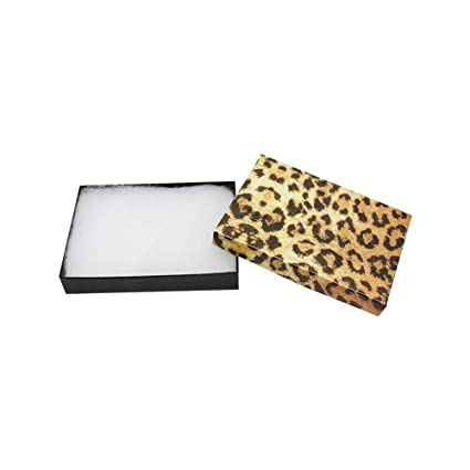 """Gift Boxes Jewelry Leopard Print Cotton Filled Batting Box 10 PC 5-3//8/"""" x 3-7//8/"""""""