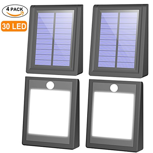 4 Pack Solar Lights, Mulcolor Brightest 30 LED Solar Motion Sensor Light Outdoor Wireless Waterproof Solar Powered Security Light with Auto On/Off for Garden, Patio and Pathway