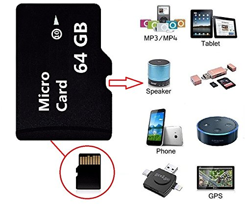 High Speed 64GB SD Micro Card Class 10 Memory Card with Free Adapter, 64 GB Micro Memory SD Card for Camcorder, Mobile Camera, Mobile Phone, PSP Memory Card and Car Driving Record (64GB)