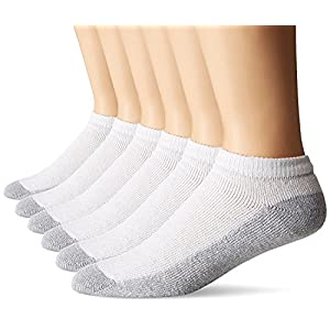 Fruit Of The Loom Men's 6 Pack Cushion Low Cut Socks, White, Shoe: 6-12