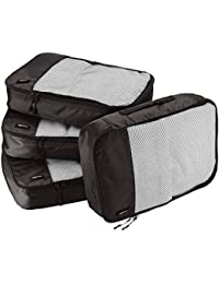 4 Piece Packing Travel Organizer Cubes Set - Medium, Black