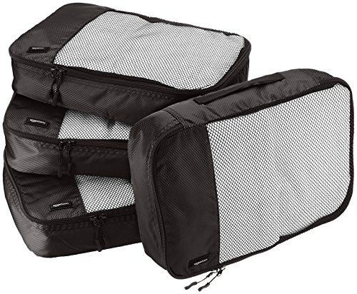 AmazonBasics 4 Piece Packing Travel Organizer Cubes Set - Medium, -