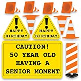 VictoryStore Yard Sign Outdoor Lawn Decorations: ''Caution 50 Year Old Having A Senior Moment'' Birthday Outdoor Signs