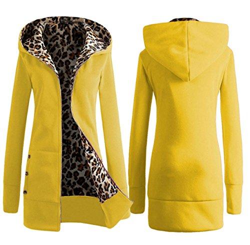 Otoño E Invierno Con Capucha Espesado Leopardo Suéter Europa Además De Terciopelo Yardas Grandes Tops Chaquetas De Las Mujeres Yellow