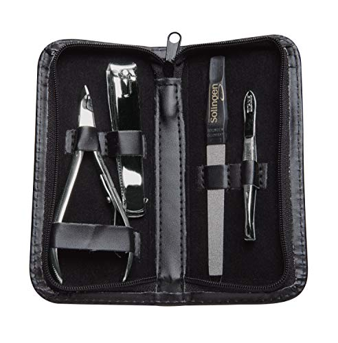 Titania Germany 4 Piece Manicure & Pedicure Set - Solingen Grade Toe Nail & Finger Nail Grooming Kit in Zipped Case - Precision Trimming & Cleaning For Fingernails & Toenails