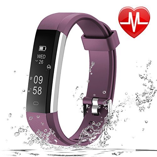 Heart Rate Counter - LETSCOM Fitness Tracker HR, Fitness Watch with Heart Rate Monitor, Slim Pedometer Watch Sleep Monitor, Step Counter, Calorie Counter for Kids Women and Men
