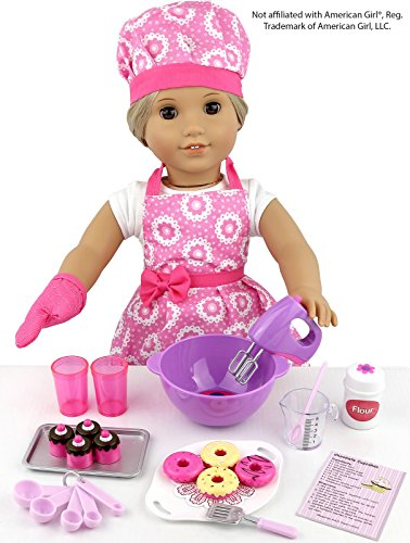 Click N' Play Doll Baking Set with Apron and Baking Utensil Accessories, Perfect for 18 inch American Girl Dolls by Click N' Play (Image #2)