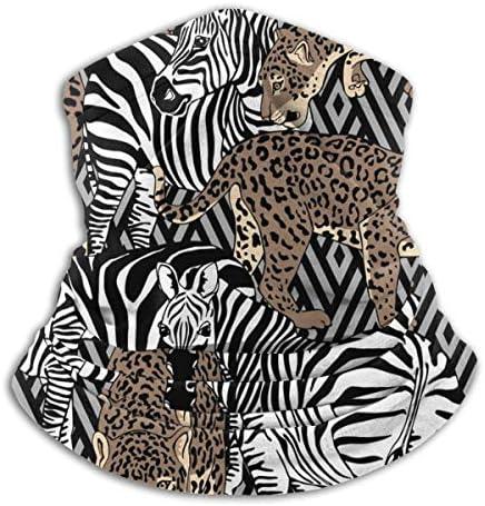 Camouflage Wild Zebras And Leopards ネックガード 男女兼用 バンダナ 防寒 防風 防塵 花粉 フェイスガード 多機能 マジックスカーフ