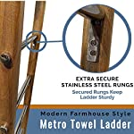 Towel Ladder for Bathroom in Modern Farmhouse Style | Handcrafted 5 ft Wooden Ladder with Stainless Steel Metal Rungs…