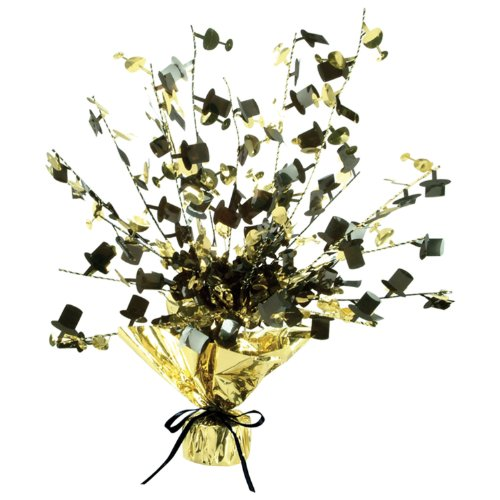 Champagne Glass & Top Hat Gleam 'N Burst Centerpiece (black & gold) Party Accessory  (1 count) -