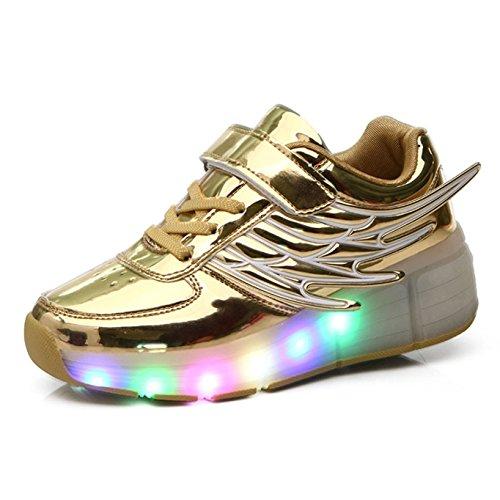 KE Niños Ala LED de luz Espejo zapatos de entrenamiento Noche deporte golden