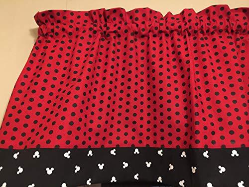 Red Black White Polka Dot Mickey Mouse Trim Bedroom Window Valance Decor