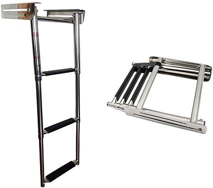 3 Step Stainless Steel Telescoping Ladder for Marine Boat Under platform Ladder