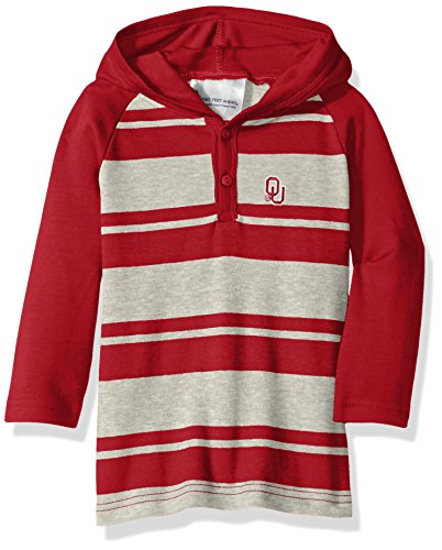 Oklahoma Sooners Rugby - Two Feet Ahead NCAA Oklahoma Sooners Toddler Boys Rugby Long Sleeve Hooded Shirt, Size 2, Crimson/Heather