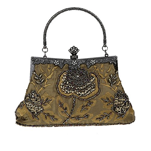 Black Flower Beaded Sequins ANDAY Green Handbag Embroidered Mine Clutch Women's Vintage 8wxaq6S
