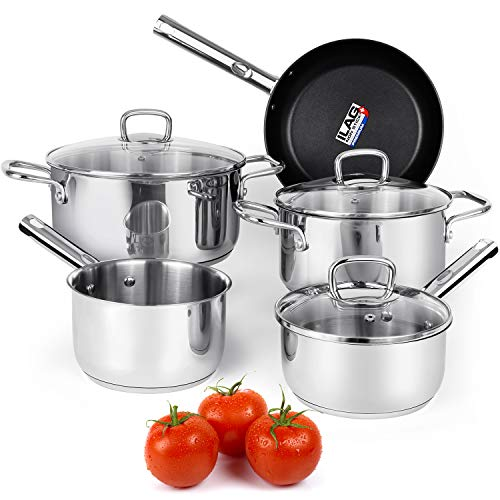 (Viewee Cookware Set Stainless Steel Pots and Pans Sets with Nonstick Coated Skillet 8-Piece Kitchenware Set Dishwasher & Oven Safe Tri-Ply with Lids, PFOA Free Compatible to Multi-Stove Top for Home)