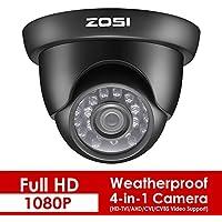 ZOSI 2.0 Megapixel HD 1080P 4-in-1 TVI/CVI/AHD/CVBS CCTV Camera Home Security Day/Night Waterproof Camera, 65ft(20m) IR Distance, Compatible for HD-TVI, AHD, CVI, and CVBS/960H analog DVR (Black)