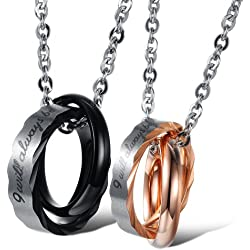 "Opk Jewelry Stainless Steel Macthing Couple Necklaces ""I Will Always Be with You"" Ring Band Circle Hook-ups Pendent Promise Love Wedding Jewel Gift with Chain"