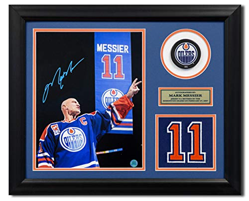Mark Messier Autographed Oilers - Mark Messier Edmonton Oilers Autographed Retired Jersey Number 19x23 Frame