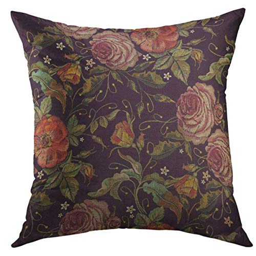 (Mugod Decorative Throw Pillow Cover for Couch Sofa,Embroidered Wild Red Roses Peonies Classic Style Beautiful Pink Fashionable Flowers Renaissance Home Decor Pillow case 18x18 Inch )