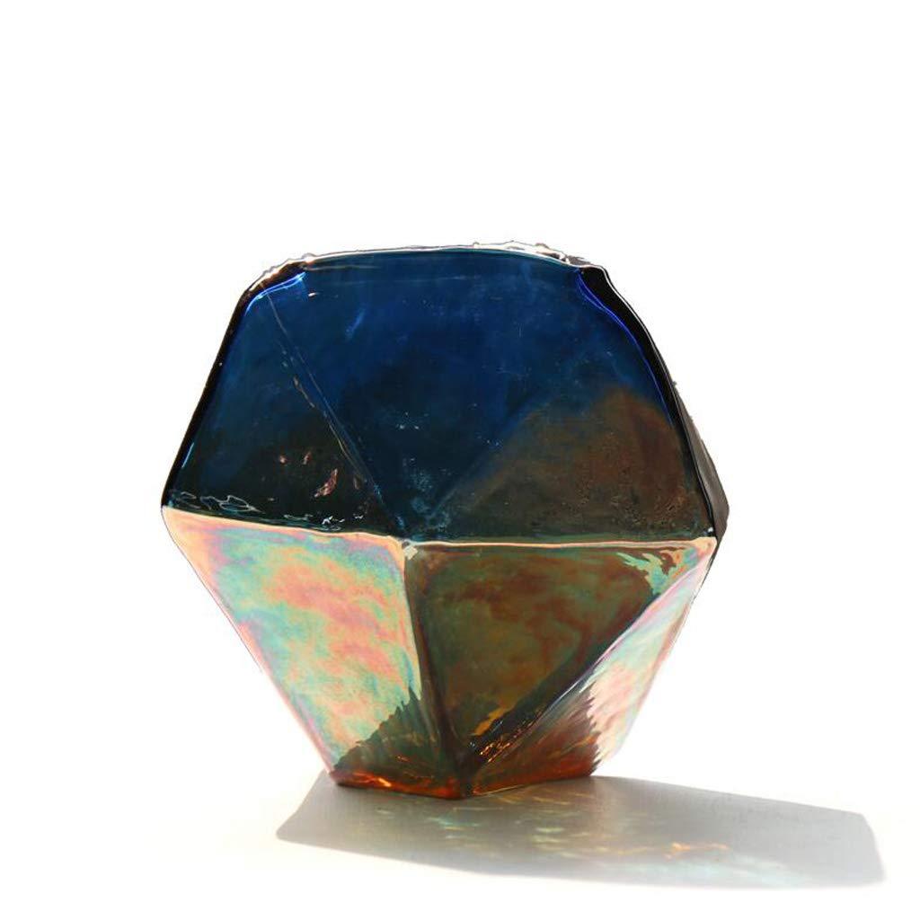 花瓶カラフルな隕石幾何学的な厚さのガラス花瓶のリビングルームのフラワーアレンジメントの装飾 SHWSM (サイズ さいず : 15cm×15cm) B07RYRH4TY  15cm×15cm