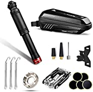 QCLTY Bike Tire Repair Tool Kit with Mini Bicycle Air Pump, Rainproof Bike Frame Storage Bag for Bicycle Acces